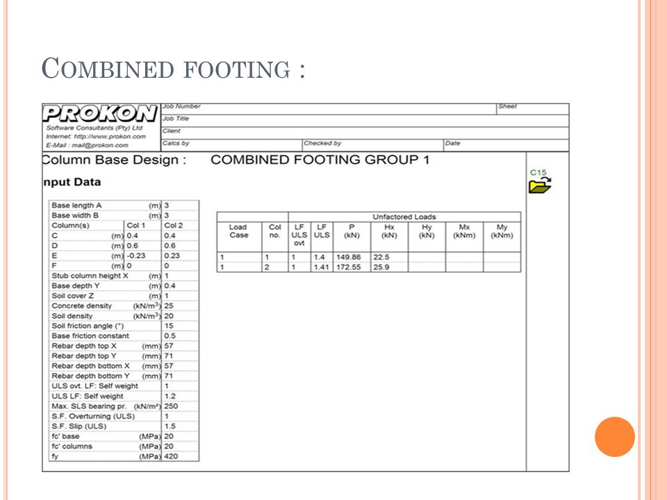 C OMBINED FOOTING :