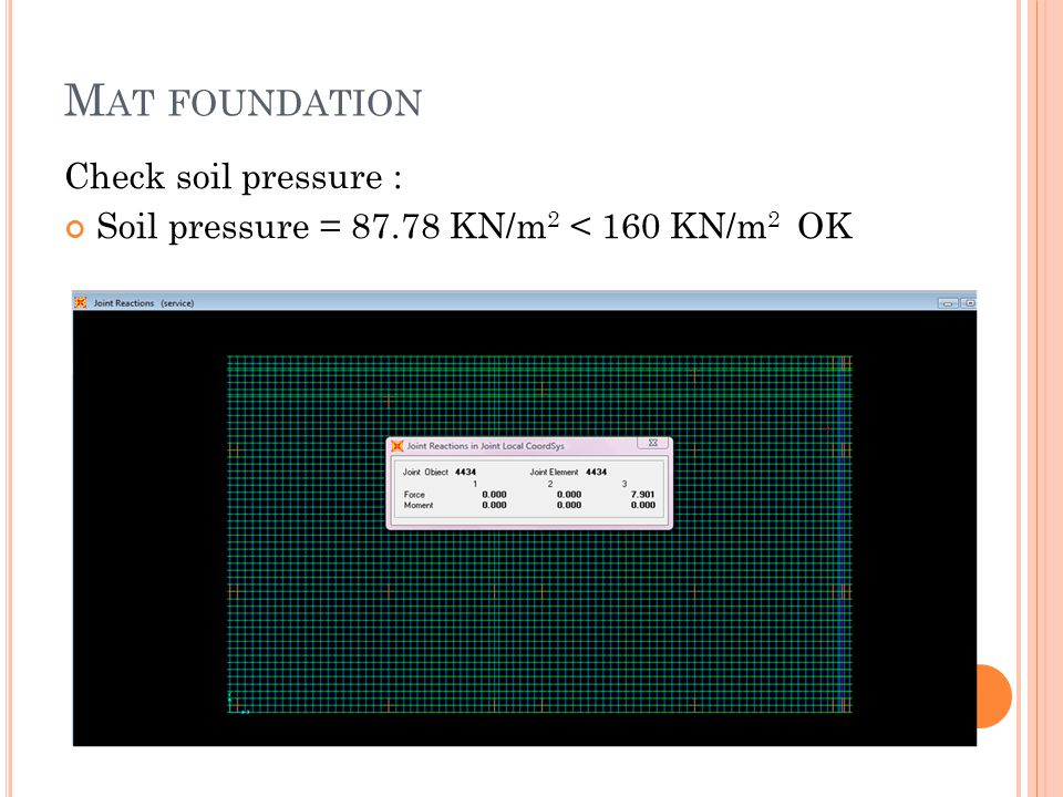 M AT FOUNDATION Check soil pressure : Soil pressure = 87.78 KN/m 2 < 160 KN/m 2 OK