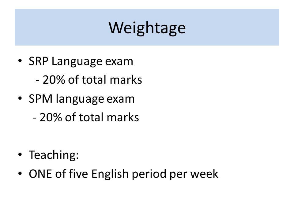 Weightage SRP Language exam - 20% of total marks SPM language exam - 20% of total marks Teaching: ONE of five English period per week