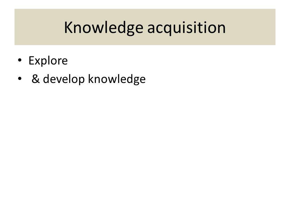 Knowledge acquisition Explore & develop knowledge