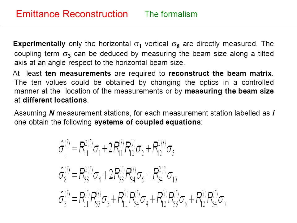 New design of the OTR for ATF-ATF2 Emittance Reconstruction Introducing the matrices: The formalism