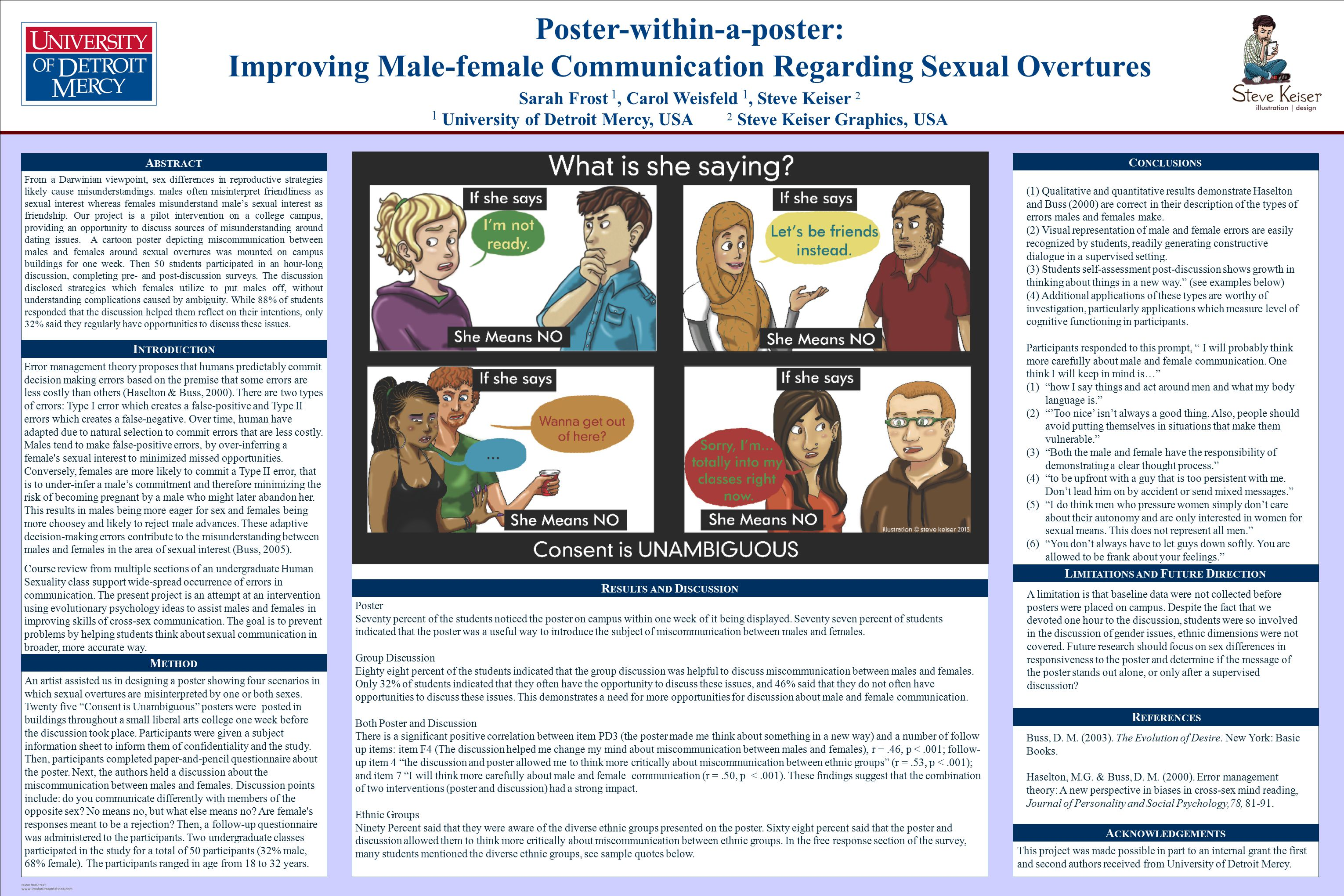 POSTER TEMPLATE BY: www.PosterPresentations.com Poster-within-a-poster: Improving Male-female Communication Regarding Sexual Overtures Sarah Frost 1, Carol Weisfeld 1, Steve Keiser 2 1 University of Detroit Mercy, USA 2 Steve Keiser Graphics, USA A BSTRACT C ONCLUSIONS R EFERENCES (1) Qualitative and quantitative results demonstrate Haselton and Buss (2000) are correct in their description of the types of errors males and females make.