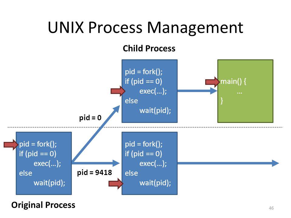 UNIX Process Management pid = fork(); if (pid == 0) exec(…); else wait(pid); pid = fork(); if (pid == 0) exec(…); else wait(pid); pid = fork(); if (pid == 0) exec(…); else wait(pid); main() { … } pid = 0 pid = 9418 Original Process Child Process 46