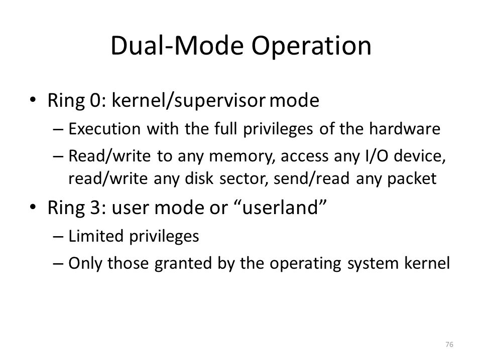 Dual-Mode Operation Ring 0: kernel/supervisor mode – Execution with the full privileges of the hardware – Read/write to any memory, access any I/O device, read/write any disk sector, send/read any packet Ring 3: user mode or userland – Limited privileges – Only those granted by the operating system kernel 76