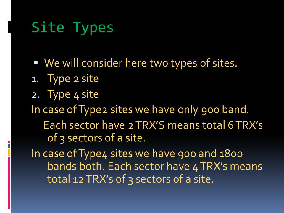 Site Types  We will consider here two types of sites. 1. Type 2 site 2. Type 4 site In case of Type2 sites we have only 900 band. Each sector have 2