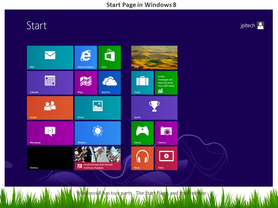 Start Page in Windows 8 Windows 8 has two parts. The Start Page, and the Desktop 11