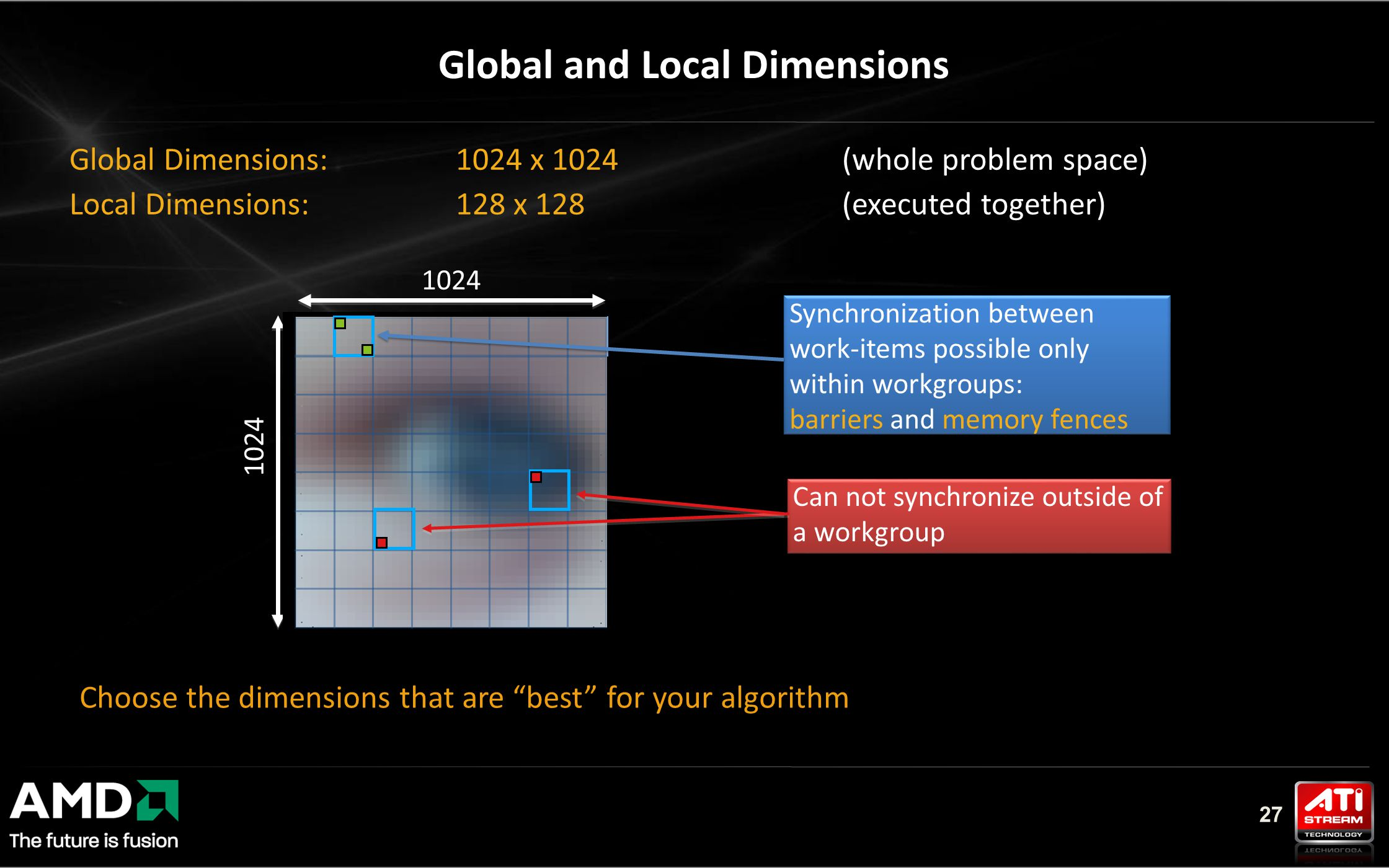 27 Global Dimensions: 1024 x 1024 (whole problem space) Local Dimensions: 128 x 128 (executed together) Global and Local Dimensions 1024 Synchronization between work-items possible only within workgroups: barriers and memory fences Synchronization between work-items possible only within workgroups: barriers and memory fences Can not synchronize outside of a workgroup Choose the dimensions that are best for your algorithm