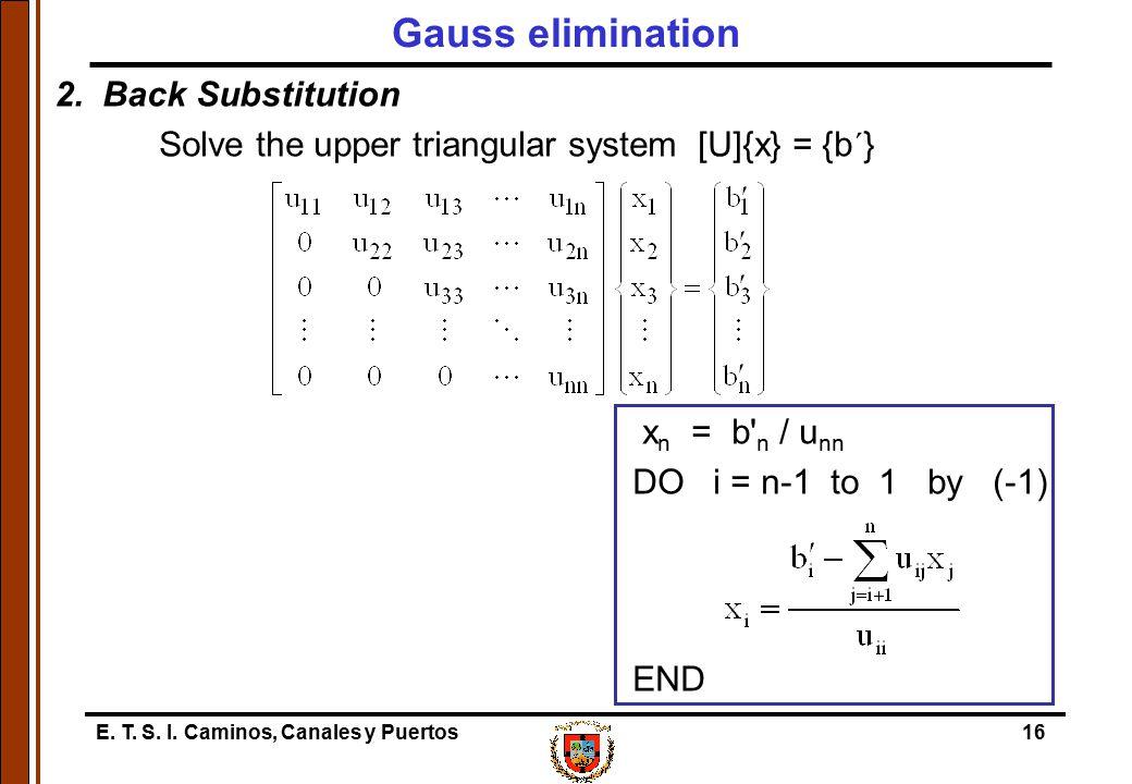 E. T. S. I. Caminos, Canales y Puertos16 Gauss elimination 2. Back Substitution Solve the upper triangular system [U]{x} = {b´} x n = b' n / u nn DO i