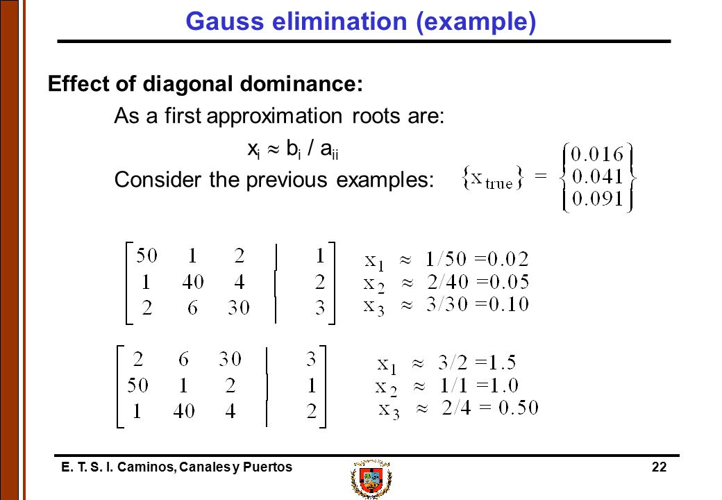 E. T. S. I. Caminos, Canales y Puertos22 Effect of diagonal dominance: As a first approximation roots are: x i  b i / a ii Consider the previous exam