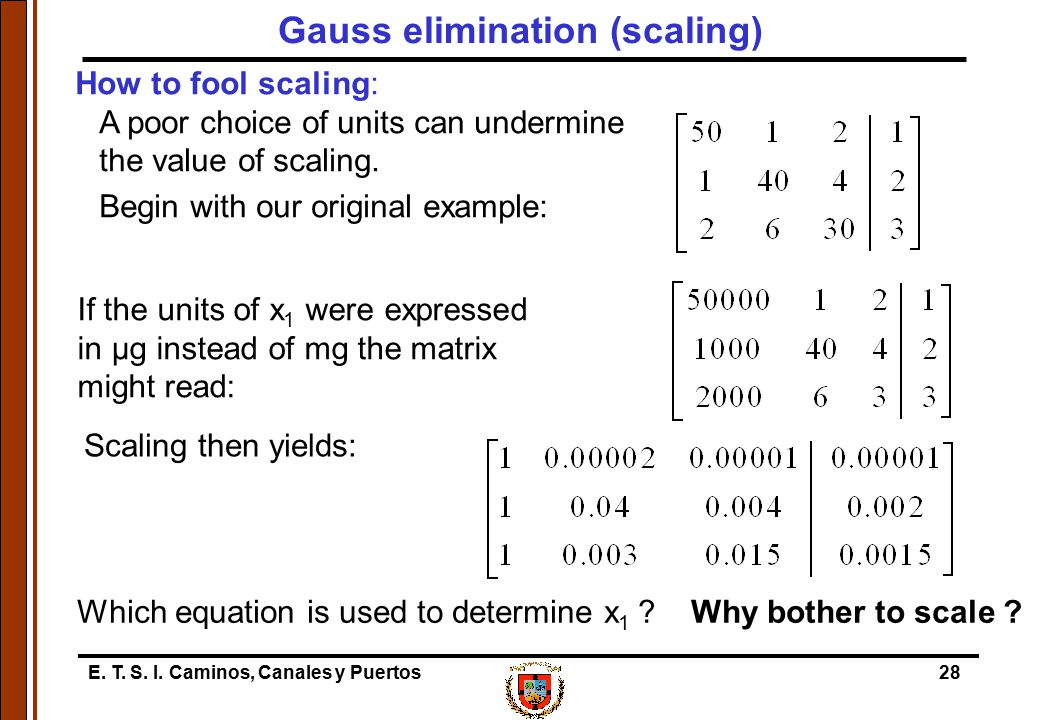 E. T. S. I. Caminos, Canales y Puertos28 If the units of x 1 were expressed in µg instead of mg the matrix might read: How to fool scaling: A poor cho