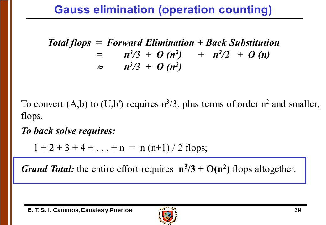 E. T. S. I. Caminos, Canales y Puertos39 Total flops = Forward Elimination + Back Substitution = n 3 /3 + O (n 2 )+n 2 /2 + O (n)  n 3 /3 + O (n 2 )