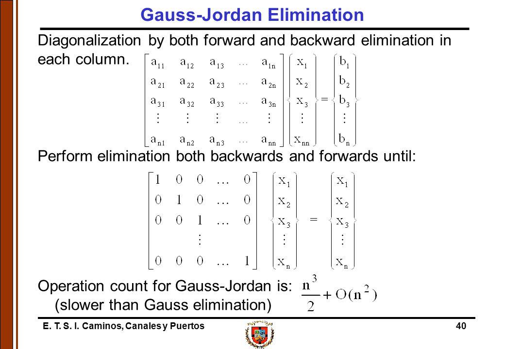 E. T. S. I. Caminos, Canales y Puertos40 Diagonalization by both forward and backward elimination in each column. Perform elimination both backwards a