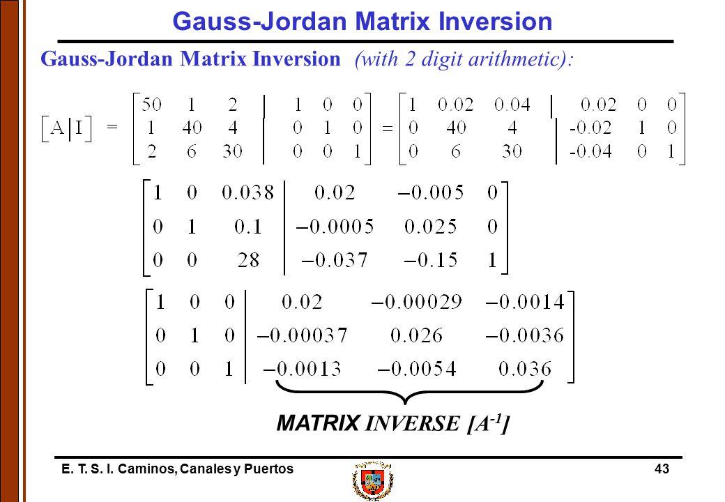 E. T. S. I. Caminos, Canales y Puertos43 Gauss-Jordan Matrix Inversion (with 2 digit arithmetic): MATRIX INVERSE [A -1 ] Gauss-Jordan Matrix Inversion