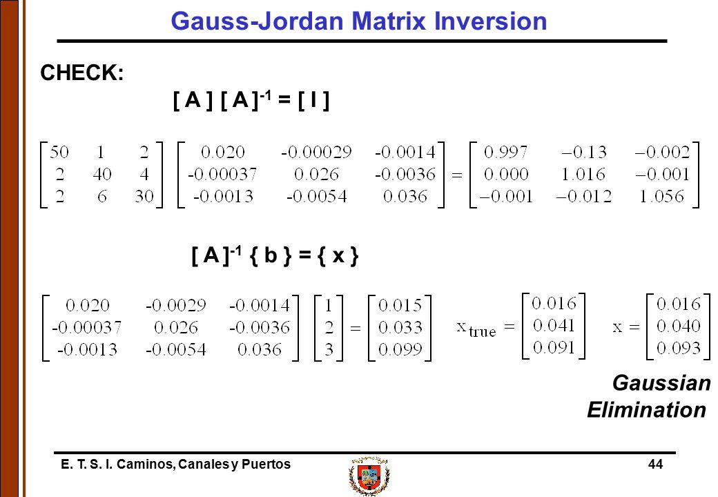 E. T. S. I. Caminos, Canales y Puertos44 CHECK: [ A ] [ A ] -1 = [ I ] [ A ] -1 { b } = { x } Gaussian Elimination Gauss-Jordan Matrix Inversion