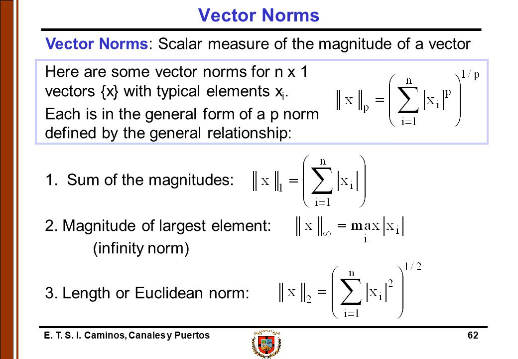 E. T. S. I. Caminos, Canales y Puertos62 Here are some vector norms for n x 1 vectors {x} with typical elements x i. Each is in the general form of a