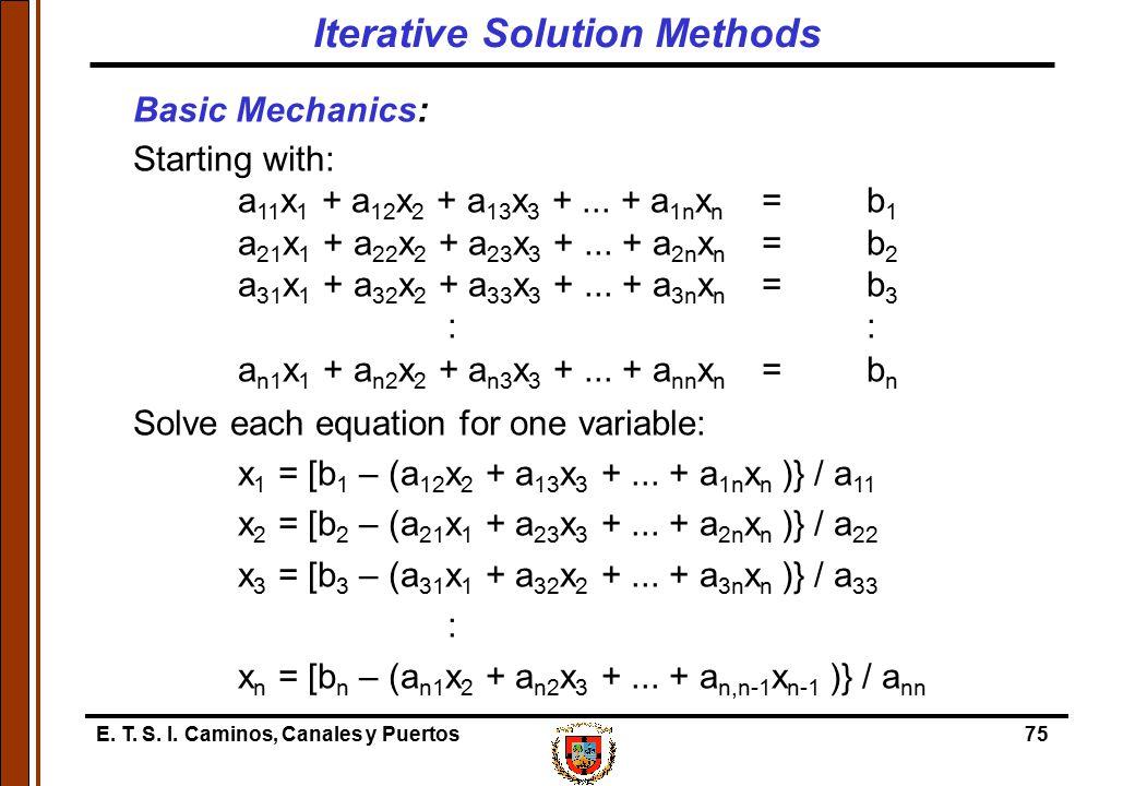 E. T. S. I. Caminos, Canales y Puertos75 Basic Mechanics: Starting with: a 11 x 1 + a 12 x 2 + a 13 x 3 +... + a 1n x n =b 1 a 21 x 1 + a 22 x 2 + a 2