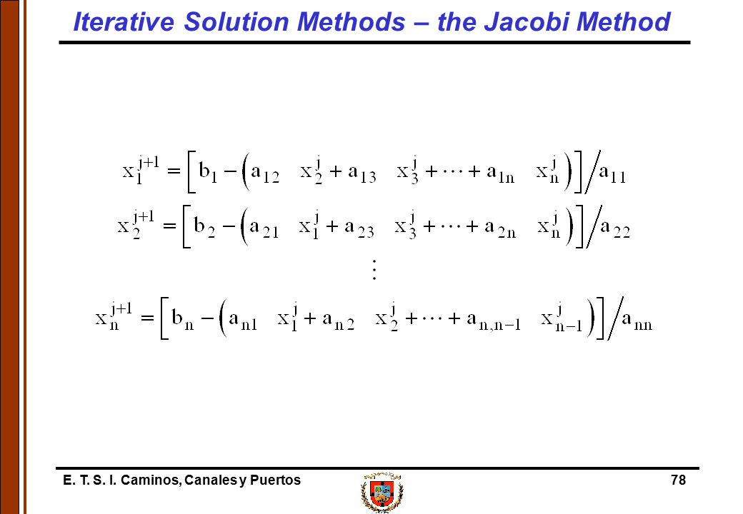 E. T. S. I. Caminos, Canales y Puertos78 Iterative Solution Methods – the Jacobi Method