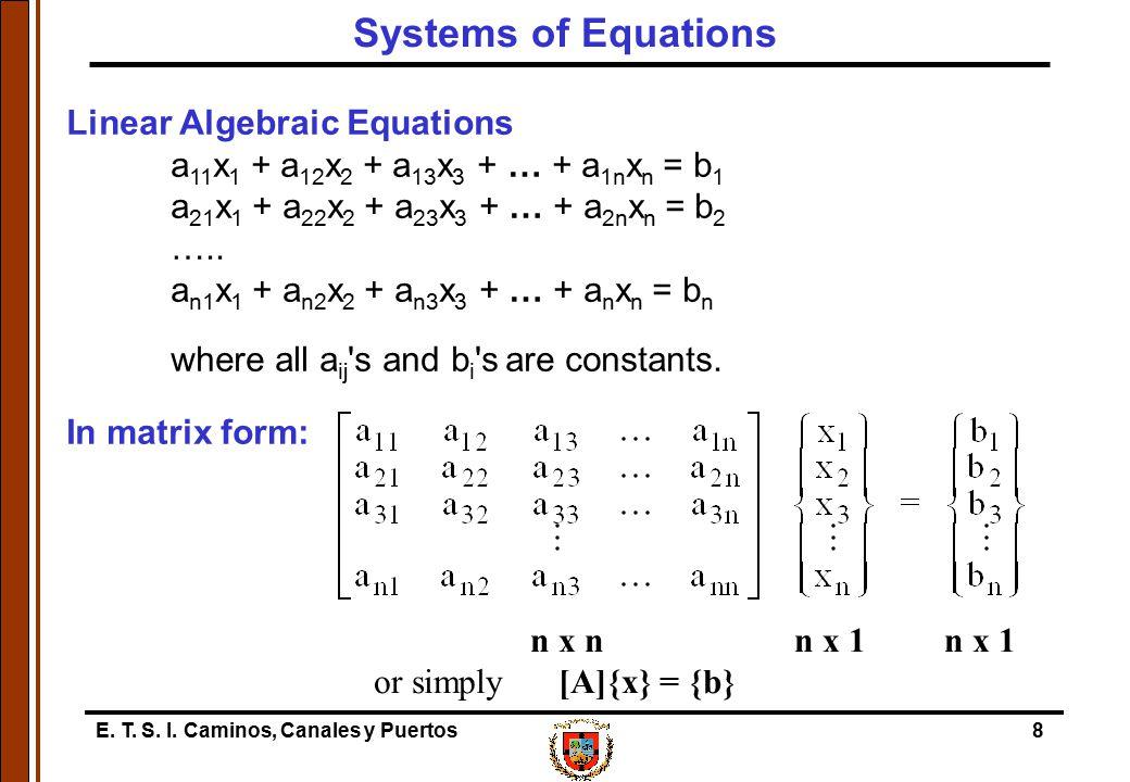 E. T. S. I. Caminos, Canales y Puertos8 Linear Algebraic Equations a 11 x 1 + a 12 x 2 + a 13 x 3 + … + a 1n x n = b 1 a 21 x 1 + a 22 x 2 + a 23 x 3