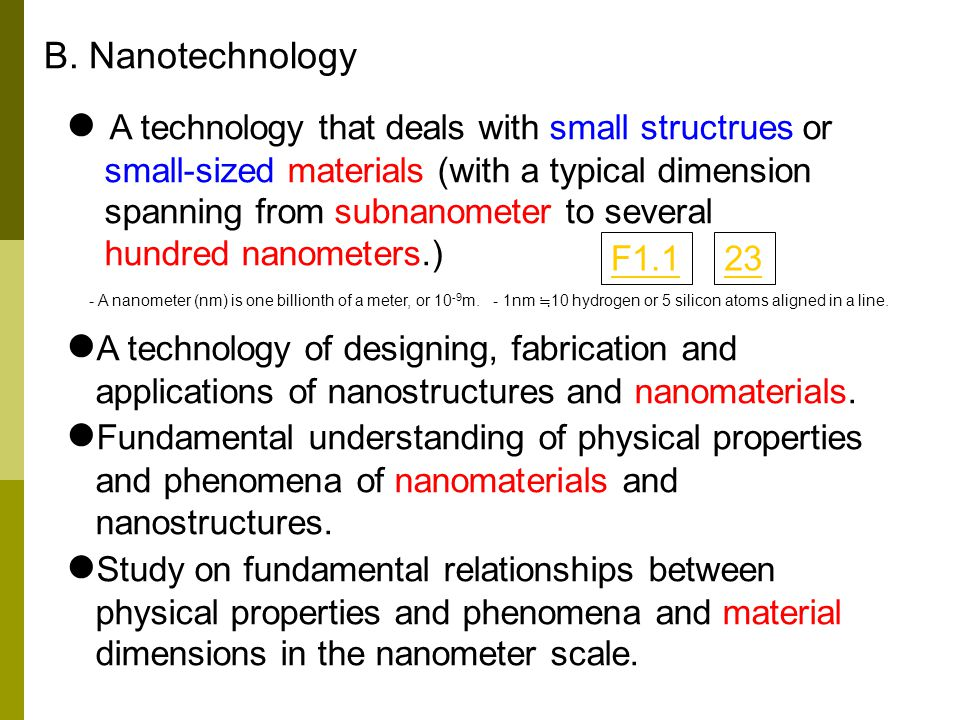 A technology that deals with small structrues or small-sized materials (with a typical dimension spanning from subnanometer to several hundred nanomet