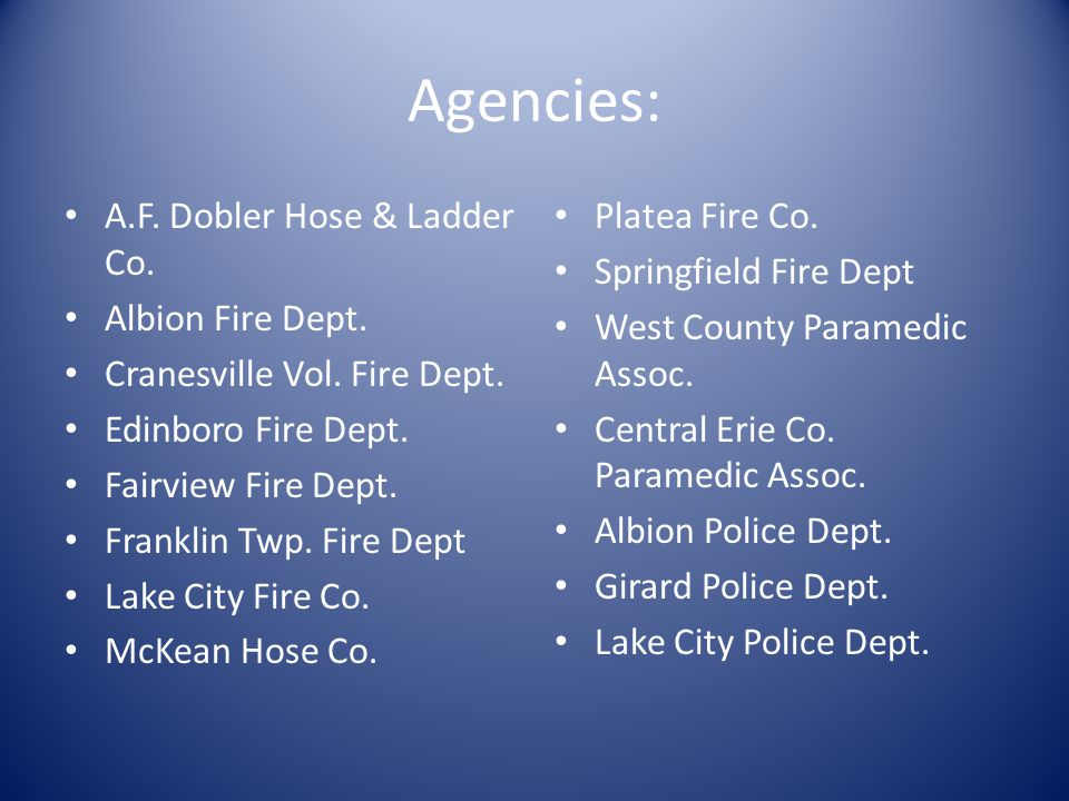 Agencies: A.F. Dobler Hose & Ladder Co. Albion Fire Dept.