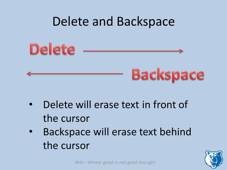 Delete and Backspace Delete will erase text in front of the cursor Backspace will erase text behind the cursor BHS—Where great is not good enough!