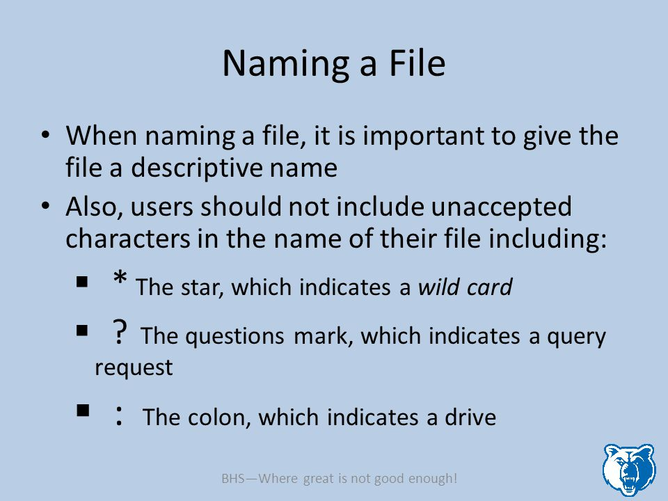 Naming a File When naming a file, it is important to give the file a descriptive name Also, users should not include unaccepted characters in the name of their file including:  * The star, which indicates a wild card  .