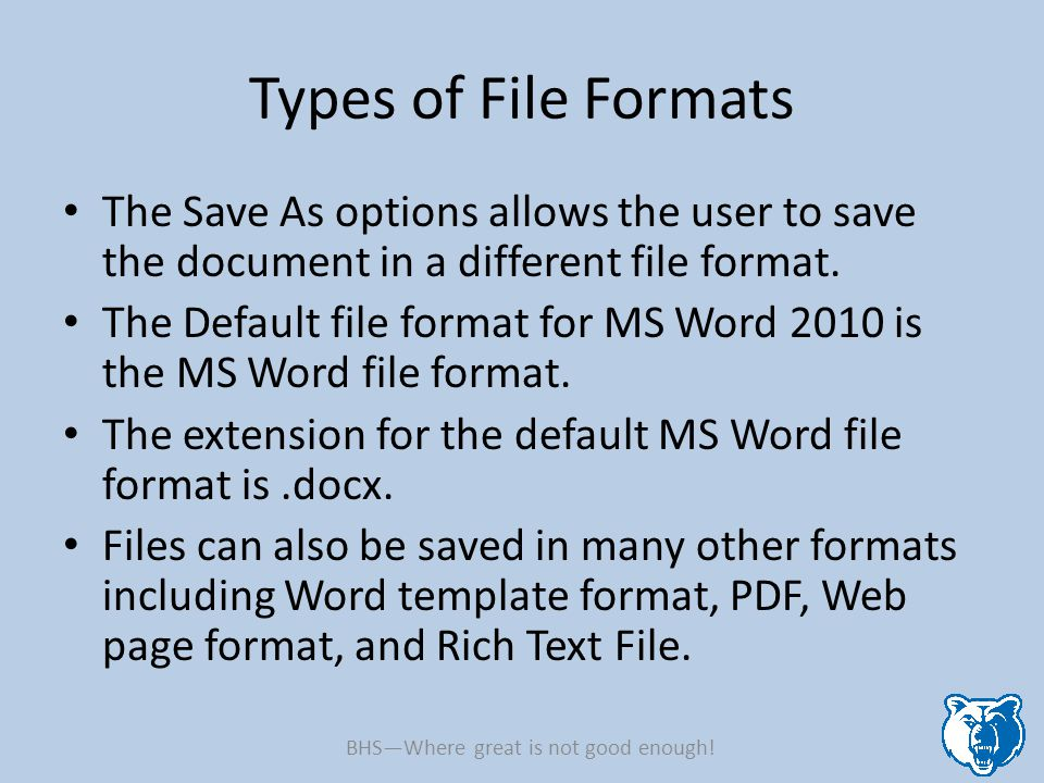 Types of File Formats The Save As options allows the user to save the document in a different file format.
