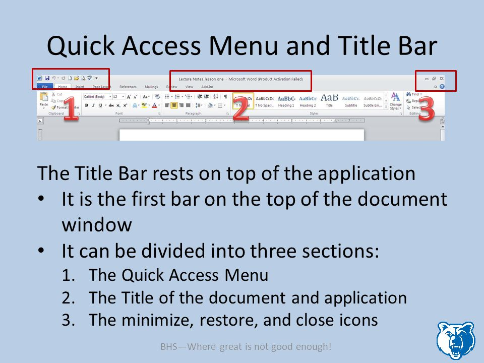 Quick Access Menu and Title Bar The Title Bar rests on top of the application It is the first bar on the top of the document window It can be divided