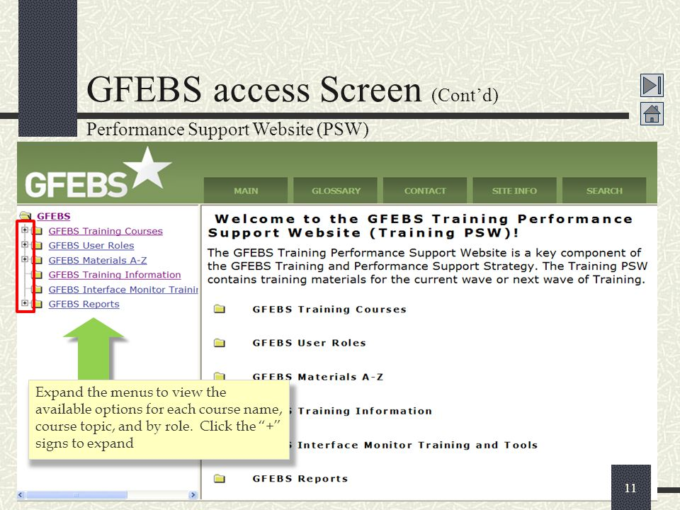 """11 GFEBS access Screen (Cont'd) Expand the menus to view the available options for each course name, course topic, and by role. Click the """"+"""" signs to"""
