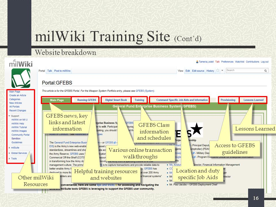 16 milWiki Training Site (Cont'd) Website breakdown GFEBS news, key links and latest information Helpful training resources and websites Various onlin