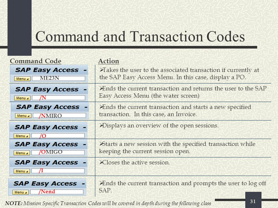 Command and Transaction Codes 31 ME23N Command CodeAction  Takes the user to the associated transaction if currently at the SAP Easy Access Menu. In