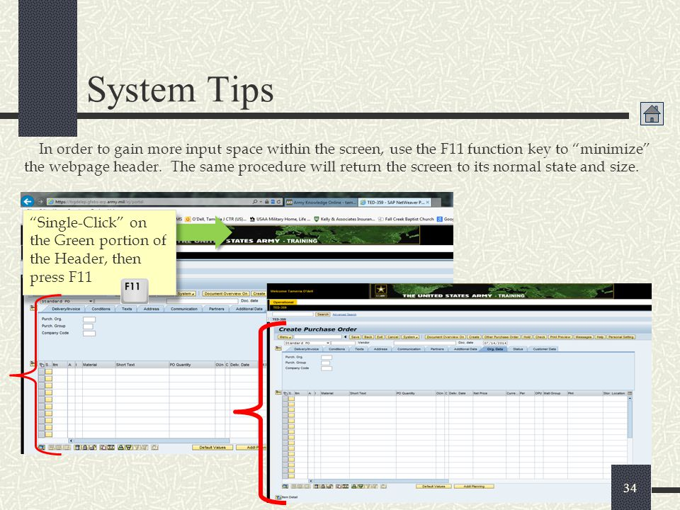 """System Tips In order to gain more input space within the screen, use the F11 function key to """"minimize"""" the webpage header. The same procedure will re"""