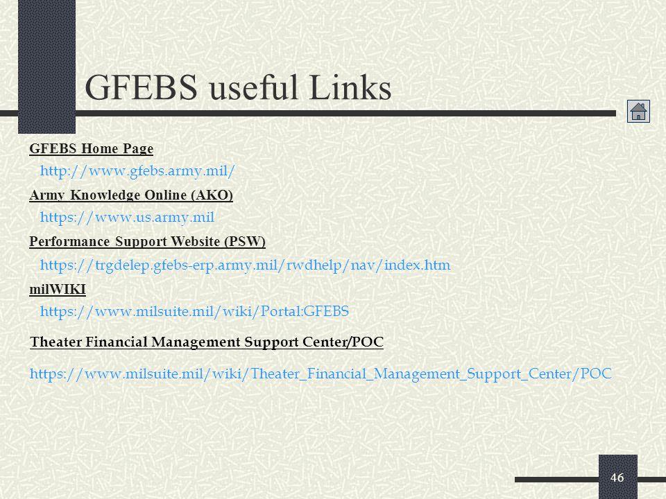 46 GFEBS useful Links https://www.us.army.mil Army Knowledge Online (AKO) https://www.milsuite.mil/wiki/Portal:GFEBS milWIKI https://www.milsuite.mil/