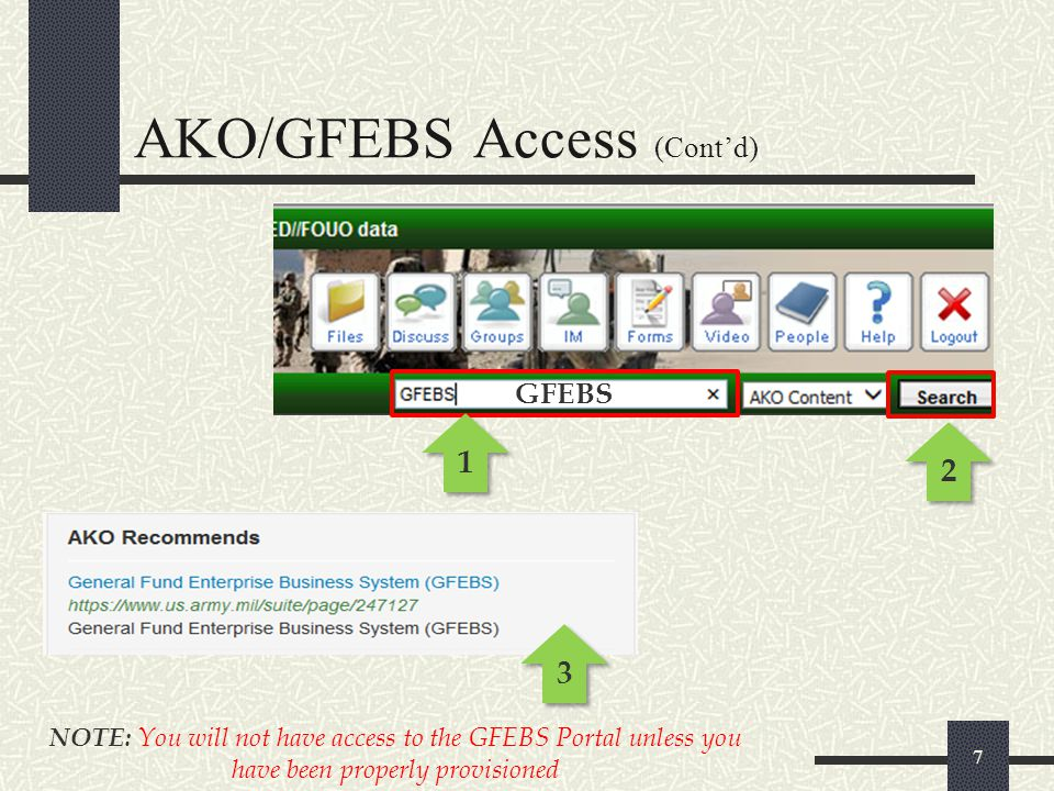 8 1 1 Adding the GFEBS Page to your Favorites for easy access AKO/GFEBS Access (Cont'd)