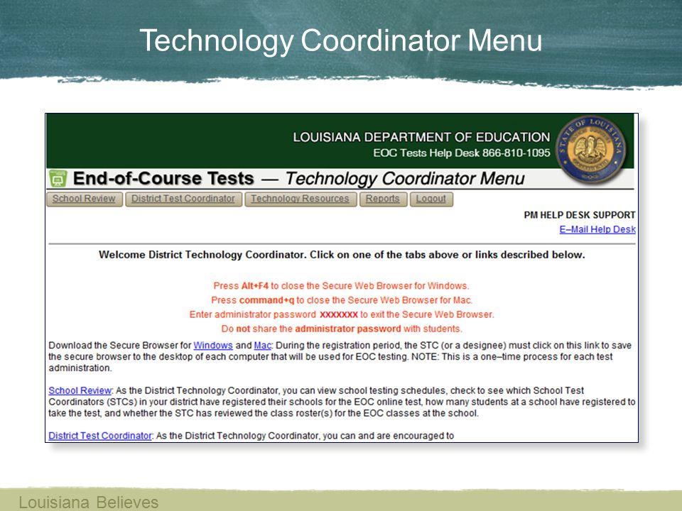 Technology Coordinator Menu Louisiana Believes