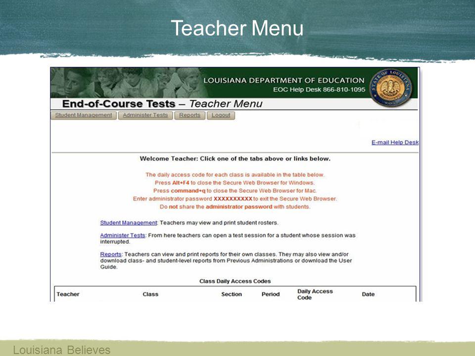Teacher Menu Louisiana Believes
