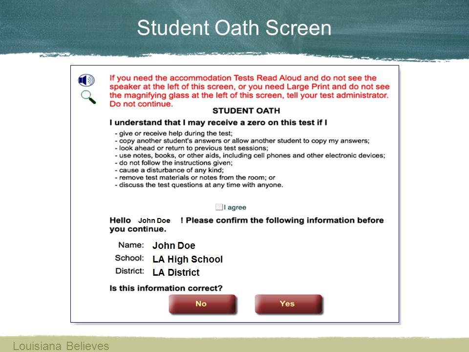 Student Oath Screen Louisiana Believes
