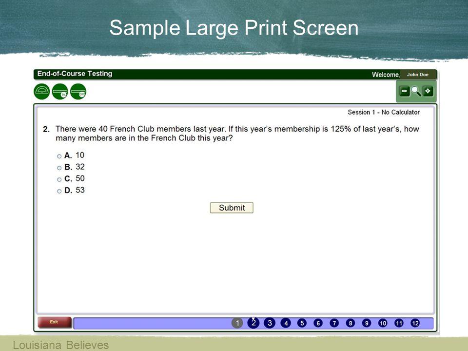 Sample Large Print Screen Louisiana Believes