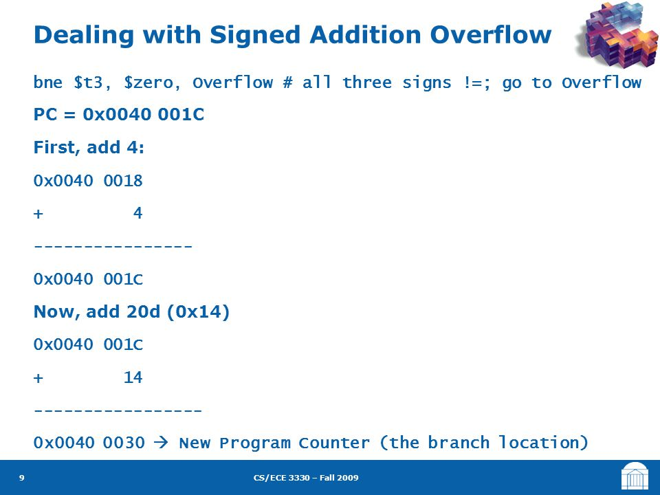 CS/ECE 3330 – Fall 2009 bne $t3, $zero, Overflow # all three signs !=; go to Overflow PC = 0x0040 001C First, add 4: 0x0040 0018 + 4 ----------------