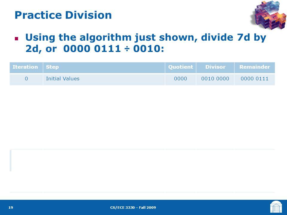 CS/ECE 3330 – Fall 2009 Using the algorithm just shown, divide 7d by 2d, or 0000 0111 ÷ 0010: IterationStepQuotientDivisorRemainder 0Initial Values00000010 00000000 0111 11:Rem=Rem-Div 2b: Rem < 0  +Div, sll Q, Q0=0 3: Shift Div right 0000 0010 0000 0001 0000 1110 0111 0000 0111 21:Rem=Rem-Div 2b: Rem < 0  +Div, sll Q, Q0=0 3: Shift Div right 0000 0001 0000 0000 1000 1111 0111 0000 0111 31:Rem=Rem-Div 2b: Rem < 0  +Div, sll Q, Q0=0 3: Shift Div right 0000 0000 1000 0000 0100 1111 0000 0111 41:Rem=Rem-Div 2a: Rem ≥ 0  sll Q, Q0=1 3: Shift Div right 0000 0001 0000 0100 0000 0010 0000 0011 51:Rem=Rem-Div 2a: Rem ≥ 0  sll Q, Q0=1 3: Shift Div right 0001 0011 0000 0010 0000 0001 Practice Division 19