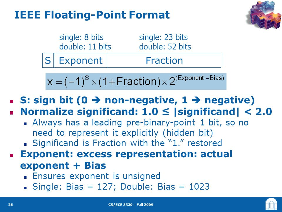 CS/ECE 3330 – Fall 2009 S: sign bit (0  non-negative, 1  negative) Normalize significand: 1.0 ≤ |significand| < 2.0 Always has a leading pre-binary-point 1 bit, so no need to represent it explicitly (hidden bit) Significand is Fraction with the 1. restored Exponent: excess representation: actual exponent + Bias Ensures exponent is unsigned Single: Bias = 127; Double: Bias = 1023 IEEE Floating-Point Format 26 SExponentFraction single: 8 bits double: 11 bits single: 23 bits double: 52 bits