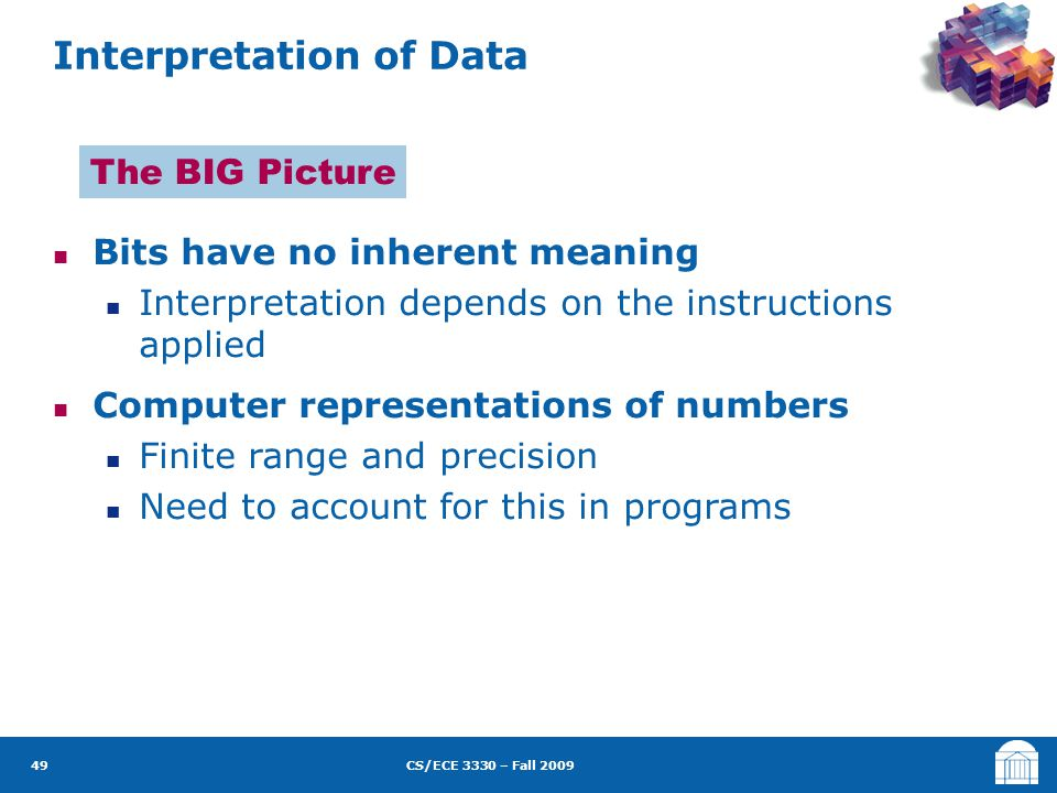 CS/ECE 3330 – Fall 2009 Bits have no inherent meaning Interpretation depends on the instructions applied Computer representations of numbers Finite range and precision Need to account for this in programs Interpretation of Data 49 The BIG Picture