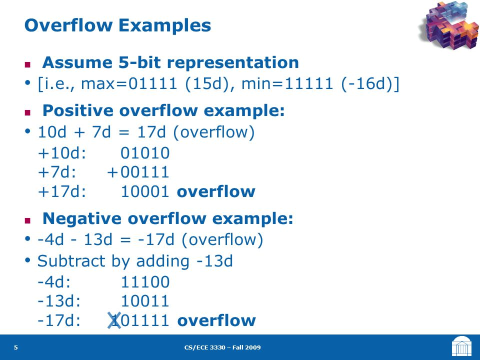 CS/ECE 3330 – Fall 2009 Assume 5-bit representation [i.e., max=01111 (15d), min=11111 (-16d)] Positive overflow example: 10d + 7d = 17d (overflow) +10