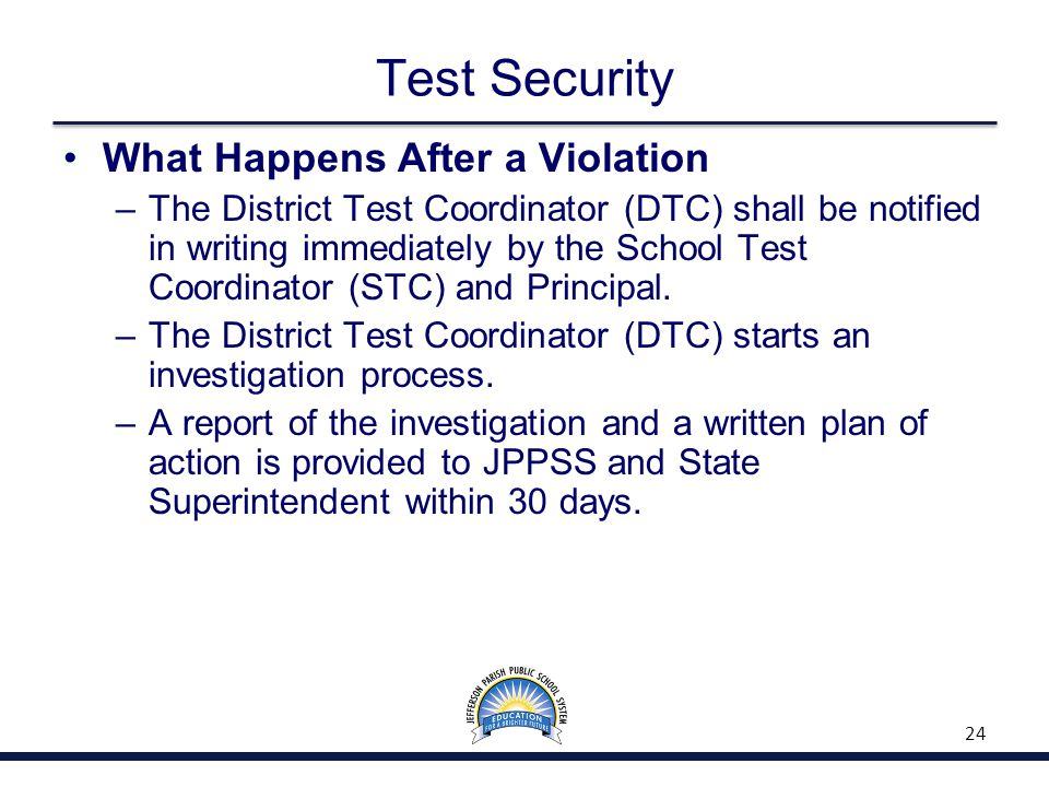 Test Security What Happens After a Violation –The District Test Coordinator (DTC) shall be notified in writing immediately by the School Test Coordina