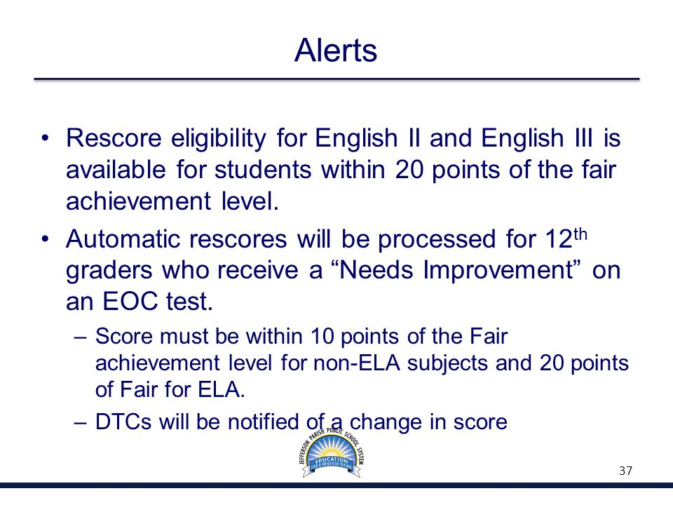 Alerts Rescore eligibility for English II and English III is available for students within 20 points of the fair achievement level. Automatic rescores