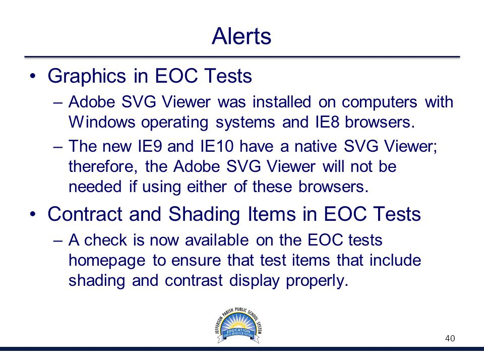 Alerts Graphics in EOC Tests –Adobe SVG Viewer was installed on computers with Windows operating systems and IE8 browsers.