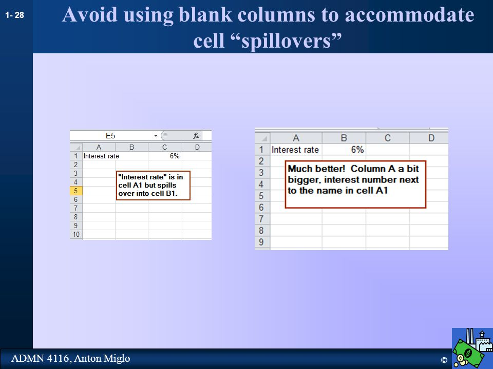 1- 28 © ADMN 4116, Anton Miglo Avoid using blank columns to accommodate cell spillovers