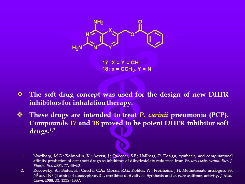  The soft drug concept was used for the design of new DHFR inhibitors for inhalation therapy.