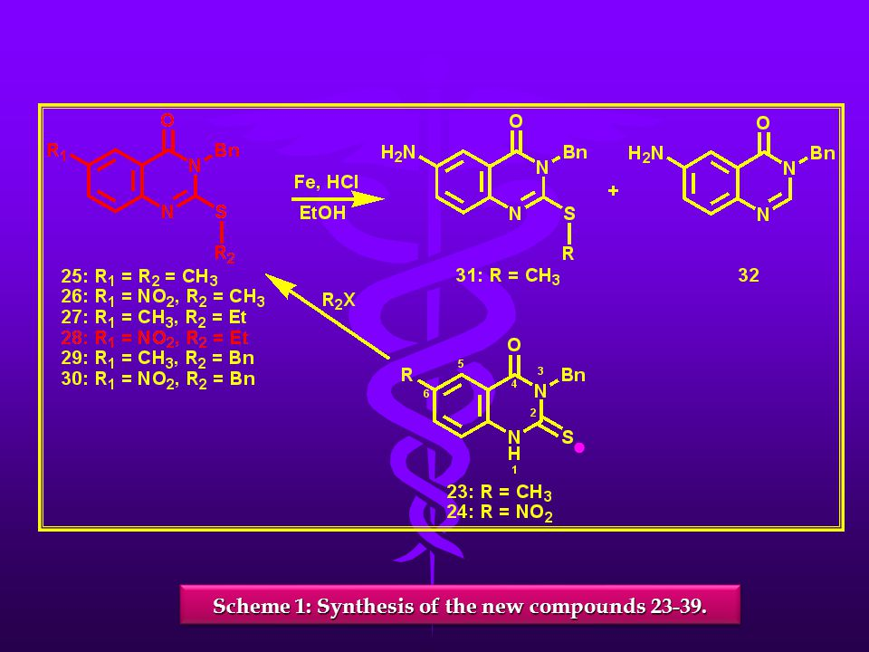 Scheme 1: Synthesis of the new compounds 23-39. ●