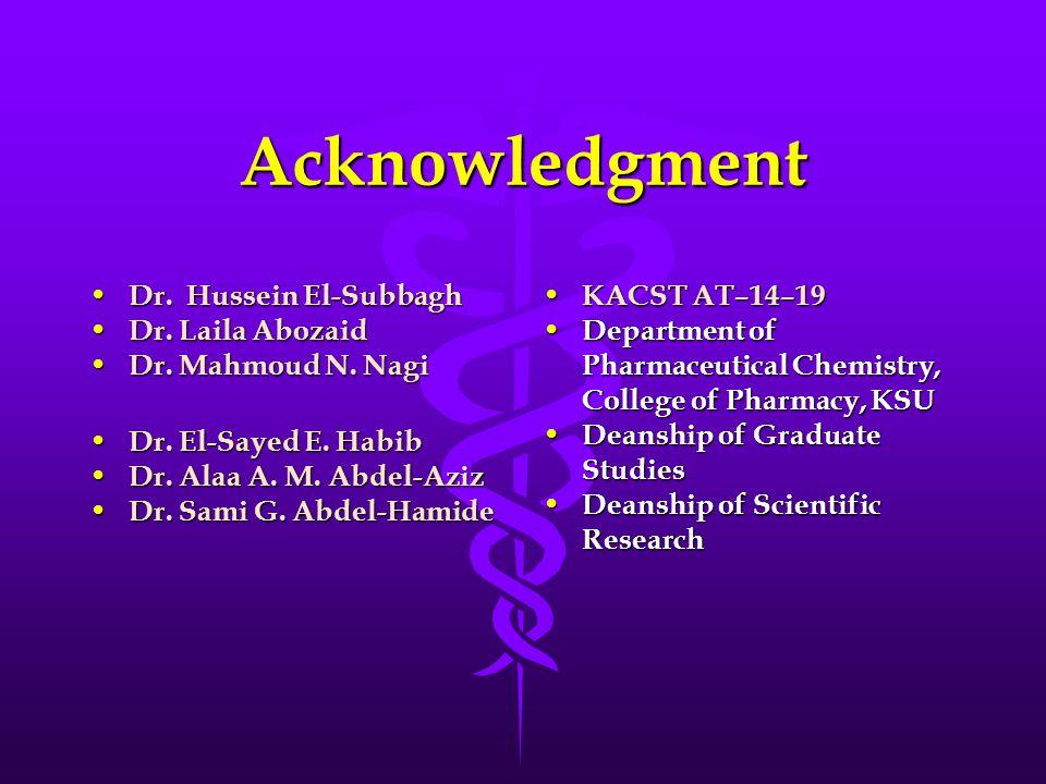 Dr. Hussein El-Subbagh Dr. Hussein El-Subbagh Dr.
